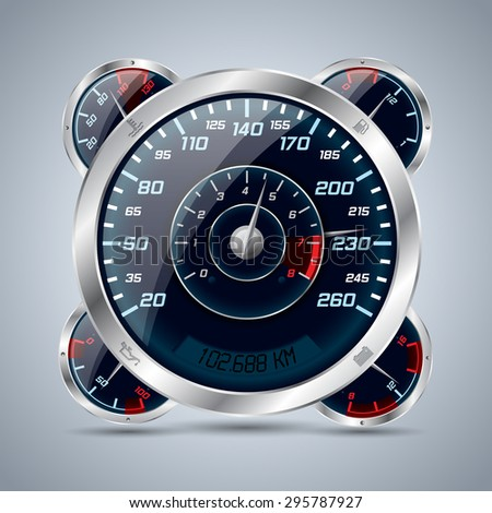 Cool shiny speedometer with rev counter and other instruments - stock vector