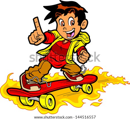 """Cool Skateboarding Boy On Fire Giving the """"Number One"""" Hand Gesture - stock vector"""