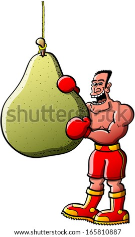 Cool smiling boxer wearing red gloves, shorts and boots while posing and going to bit his boxing bag in form of an appetizing pear fruit - stock vector