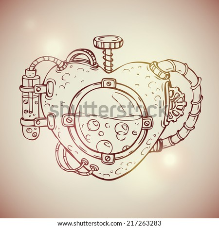 Cool steampunk mechanical heart, hand drawn illustration - stock vector