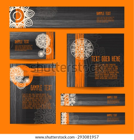 Cool stylish brand identity template design set of visit card  cover brochure web site headers flyers developed in black gray white orange color scheme used for company identity restaurant caffe menu  - stock vector