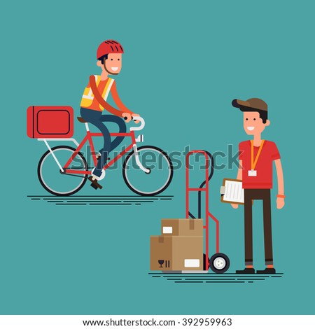 Cool supply chain shipment workers people. Courier character with delivery cart with boxes, and bicycle delivery man. Local shipping and logistics service in business and industry - stock vector