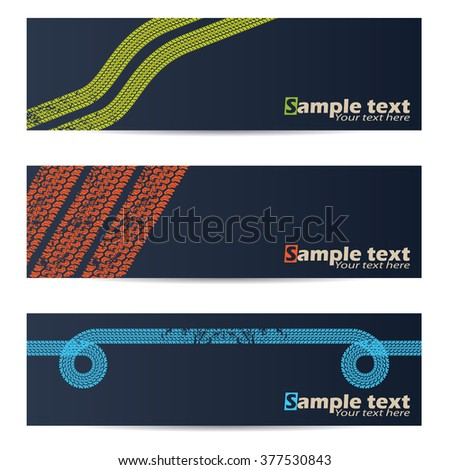 Cool tire track design banner set of three - stock vector
