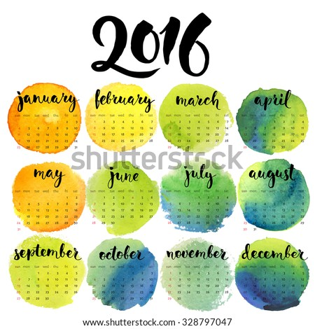 Cool vector calendar/ Hand written calligraphic months. Watercolor textures.  - stock vector