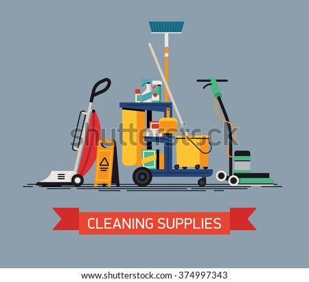 Cool vector Cleaning Supplies in flat design. Commercial cleaning equipment with cart, vacuum cleaner and spinner - stock vector