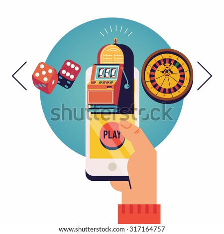 Cool vector concept flat design illustration on mobile gambling application with hand holding smart phone choosing between slot, roulette and dice games on round circle background - stock vector