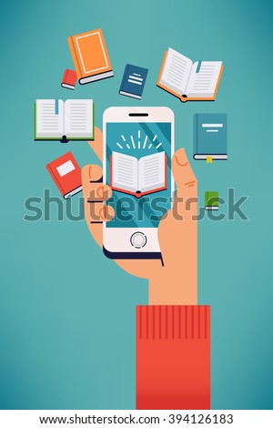 Cool vector concept illustration on E-books, digital library and reading mobile applications with hand holding smart phone with book icon displayed surrounded by abstract composition of flying books - stock vector