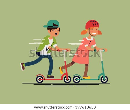 Cool vector concept illustration on little kids having fun outside. Happy small children riding kick scooters outdoors. Summer break, boy and girl having free time playing. Flat design - stock vector