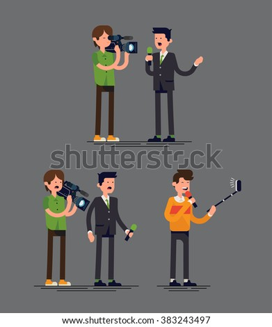 Cool vector concept illustration on traditional news crew with reporter and cameraman comparing to modern reporter with selfie stick. Technology trends in news media industry illustration  - stock vector
