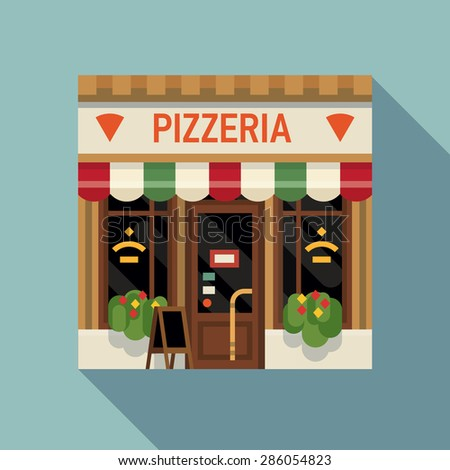 Cool vector detailed flat design pizzeria Italian restaurant facade background. Ideal for restaurant business web publications and graphic design  - stock vector