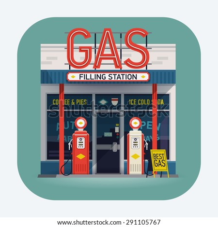 Cool  vector detailed flat design retro gas filling station web icon. Transport related service building  Gasoline and oil station - stock vector