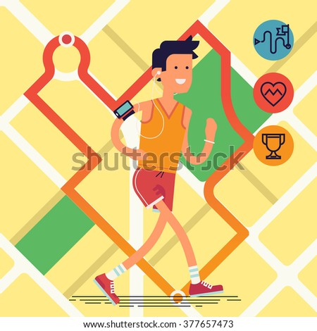 Cool vector flat design on young adult man running with city map with route tracking on background | Sport fitness male character running - stock vector