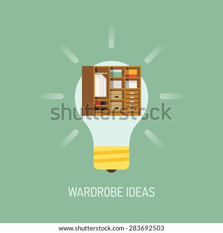 Cool vector flat design web banner illustration on interior design wardrobe ideas with lightbulb and wardrobe closet - stock vector