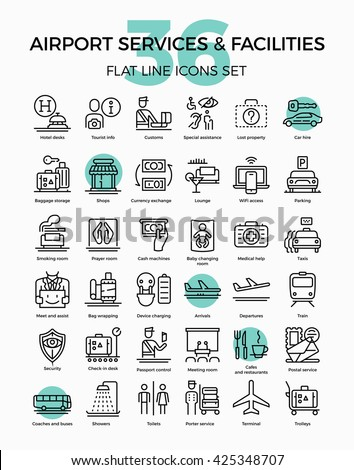 Cool vector flat line high quality icons set on airport services, facilities and features. Shops, customs, check-in, tourist information, departure and arrival, etc. - stock vector