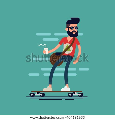 Cool vector hipster man character with beard and takeaway coffee riding longboard skateboard. Confident adult man wearing sunglasses carrying coffee paper cup rides skateboard. Urban citizen character - stock vector