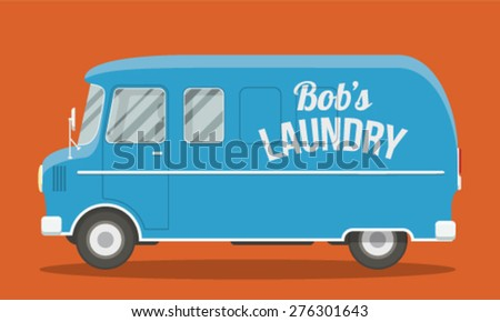 Cool vector illustration of a blue laundry van side view. EPS10 vector flat image of an urban vehicle. - stock vector