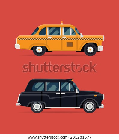 Cool vector modern flat design illustration on retro taxi cab and hackney carriage black taxi automobile | London and New York public city transport taxi service vehicles - stock vector
