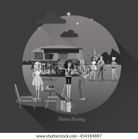 Cool vector night landscape in circle composition with trailer car, flat character of young people travelers. Student tourists friends, couple ready to road trip. Woman and man having summer trip - stock vector