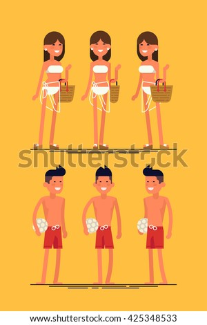 Cool vector set of female and male summer beach resort characters. Sexy woman in white swim suit posing. Beach girl in different views. Beach boy in different views. Beach vacation couple posing - stock vector