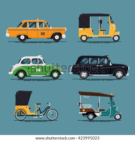 Cool vector set of world taxi cars and vehicles with yellow cab, hackney carriage, tuk-tuk, velotaxi, baby taxi auto rickshaw and more - stock vector