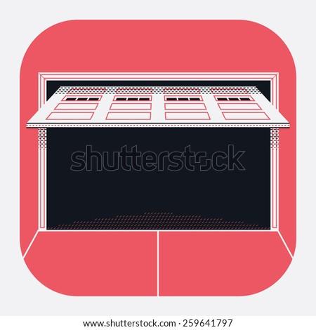 Retractable garage door opened rounded corners web icon stock vector
