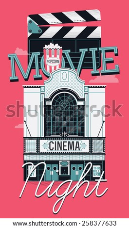 Cool vector web banner or poster design element on Movie Night event with beautiful detailed retro motion picture cinema theater building facade, popcorn and clapboard - stock vector