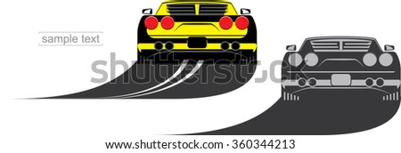 cool yellow fast sport car rear view on the highway and simply designed sport car silhouette in gray colors - stock vector
