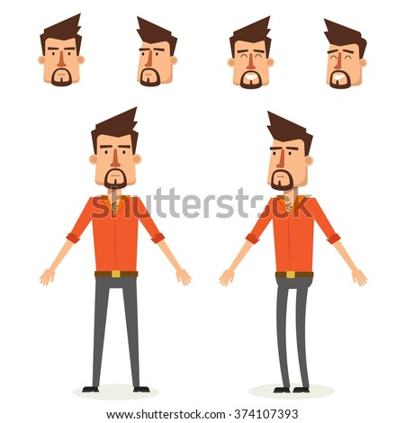 Cool Young Man Character Design. Vector Illustration - stock vector