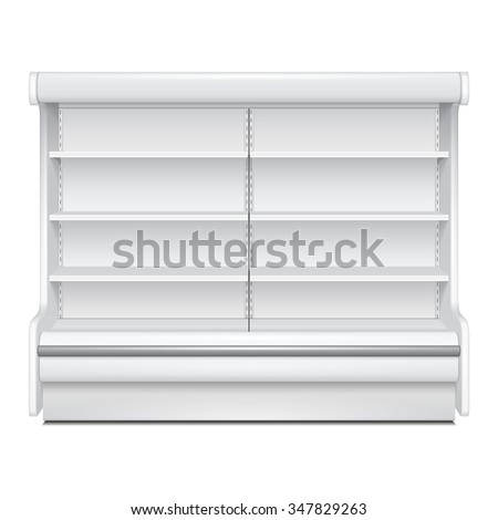 Cooled Regal Rack Refrigerator Wall Cabinet Blank Empty Showcase Displays. Retail Shelves. 3D Products On White Background Isolated. Mock Up Ready For Your Design. Product Packing. Vector EPS10 - stock vector