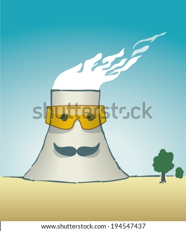 Cooling tower - cartoon style - stock vector