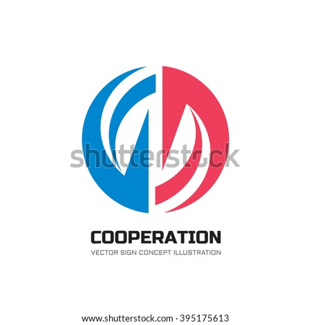 Cooperation abstract vector logo concept illustration. Stripes in circle. Sphere icon. Hi-tech geometric sign. Collaboration symbol.  - stock vector