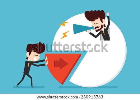 cooperation and pie chart - stock vector