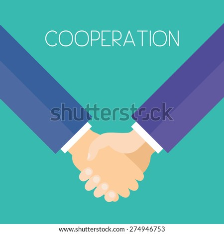 Cooperation. Business men holding hands. Flat design vector illustration. - stock vector