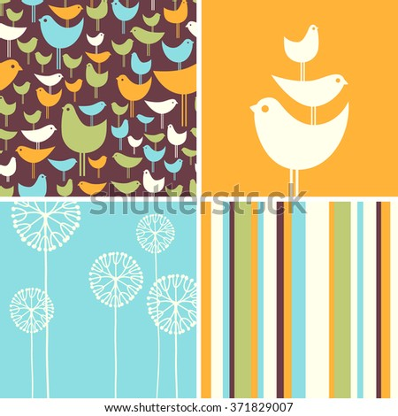 Coordinating spring patterns and design elements with retro birds, flowers, stripes - stock vector