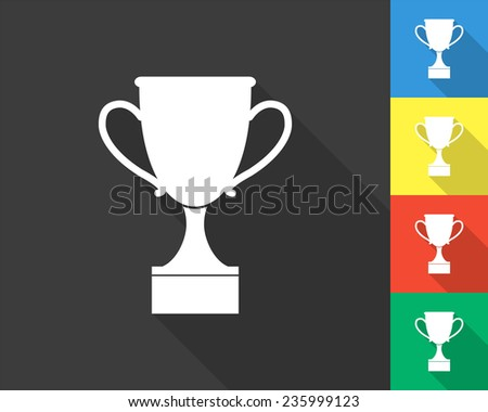 cop icon - gray and colored (blue, yellow, red, green) vector illustration with long shadow - stock vector