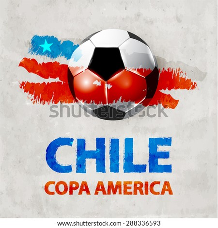 Copa America in Chile vector background illustration of ball, flag and text - stock vector