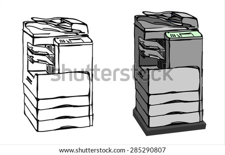 Copy Machine.Vector sketch style - stock vector