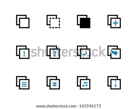 Copy Paste Icons for Apps, Presentations, Web Pages. Duo Tone color. Vector illustration.  - stock vector