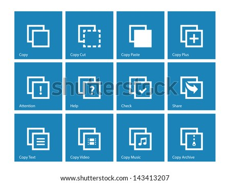 Copy Paste Icons for Apps, Presentations, Web Pages on blue background. Vector illustration. - stock vector