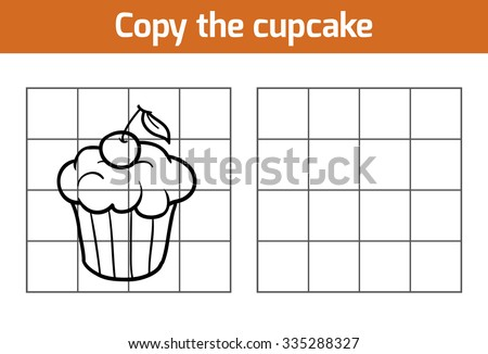 Copy the picture, education game for children: cupcake - stock vector