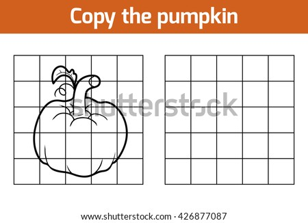 Copy the picture, education game for children. Fruits and vegetables, pumpkin - stock vector
