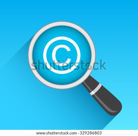 Copyright Icon Magnifying Glass - stock vector