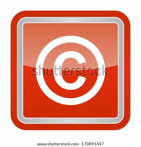 Copyright sign (glossy rounded button with metallic frame, red version) - stock vector