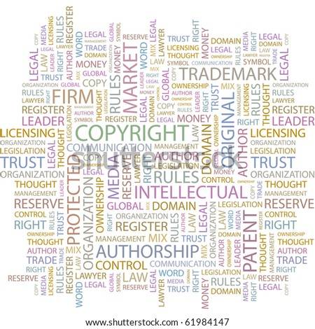 COPYRIGHT. Word collage on white background. Illustration with different association terms. - stock vector