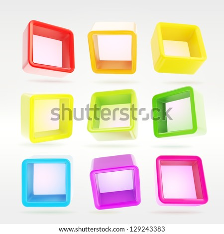 Copyspace cube square colorful shelf app boxes in nine foreshortenings, eps10 vector design elements set - stock vector