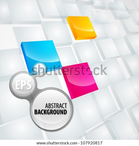 Copyspace eps10 vector light background made of dimensional white and cmyk colored plates - stock vector