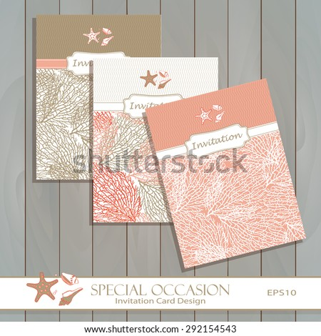 Coral Invitation Card set design in gold & coral. Greeting card template for Special Occasions, life events & announcements. Original pattern is complete masked. Layered. editable vector - stock vector