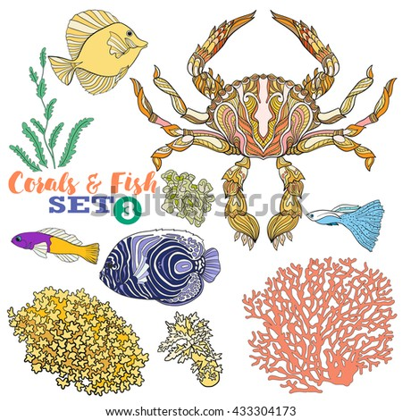 Coral reef and fish set. Colored Vector illustration. - stock vector