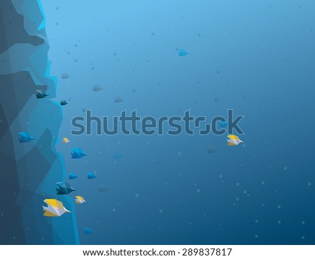 coral reef fishes abstract minimalistic vector illustration. Underwater life  - stock vector