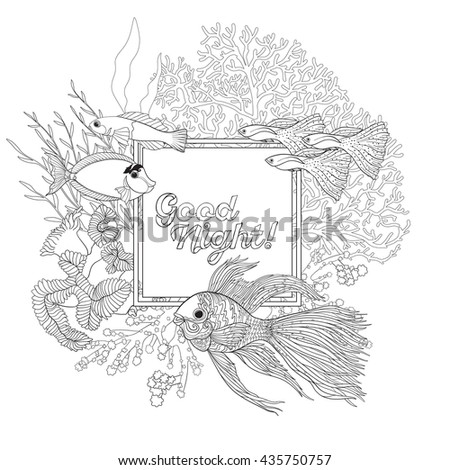 Coral reef with corals and fish. Coloring book for adult and older children. Outline drawing coloring page. Vector illustration. With space for text - stock vector